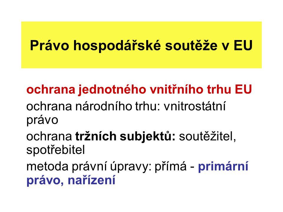 Právo hospodářské soutěže v EU ochrana jednotného vnitřního trhu EU ochrana národního trhu: vnitrostátní právo ochrana tržních subjektů: soutěžitel, spotřebitel metoda právní úpravy: přímá - primární právo, nařízení