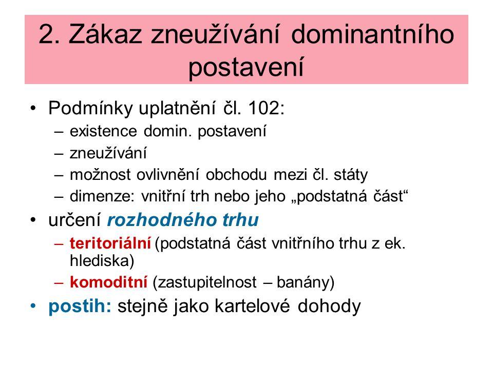 2. Zákaz zneužívání dominantního postavení Podmínky uplatnění čl.