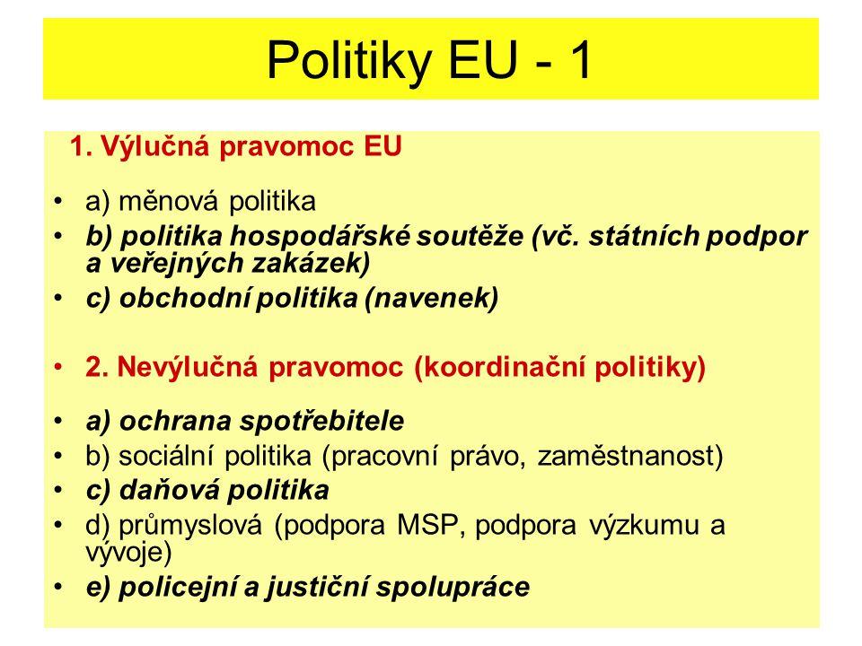 Politiky EU - 1 1. Výlučná pravomoc EU a) měnová politika b) politika hospodářské soutěže (vč.