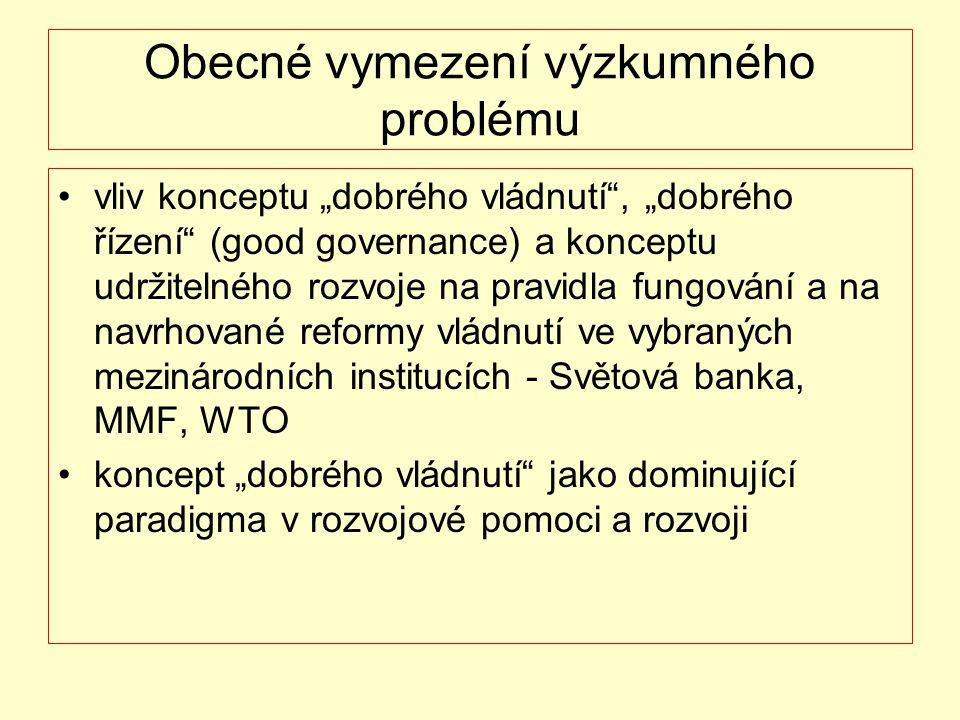 """Obecné vymezení výzkumného problému vliv konceptu """"dobrého vládnutí"""", """"dobrého řízení"""" (good governance) a konceptu udržitelného rozvoje na pravidla f"""