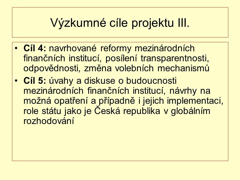 Výzkumné cíle projektu III. Cíl 4: navrhované reformy mezinárodních finančních institucí, posílení transparentnosti, odpovědnosti, změna volebních mec