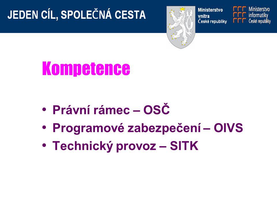 Kompetence Právní rámec – OSČ Programové zabezpečení – OIVS Technický provoz – SITK