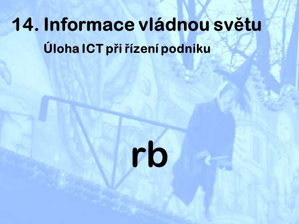 ad 2) Úloha ICT v řízení podniku ICT zvyšují efektivitu a produktivitu práce v podniku důsledkem jejich používání se zvyšuje životní úroveň obyvatelstva a v důsledku toho i životní úroveň země využívání ICT zvyšuje HDP země ICT nahrávají inovátorům, jsou brzdou pro opozdilce