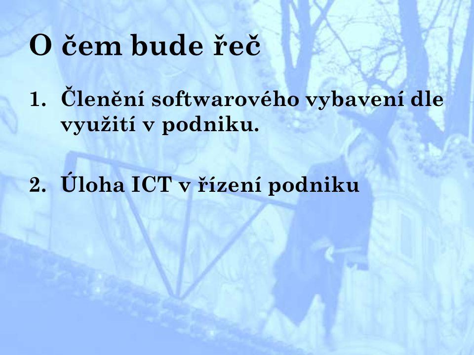 Členění softwarového vybavení dle využití v podniku a.Programové prostředky pro komunikaci b.Obecné aplikační programy c.Účelové aplikační programy