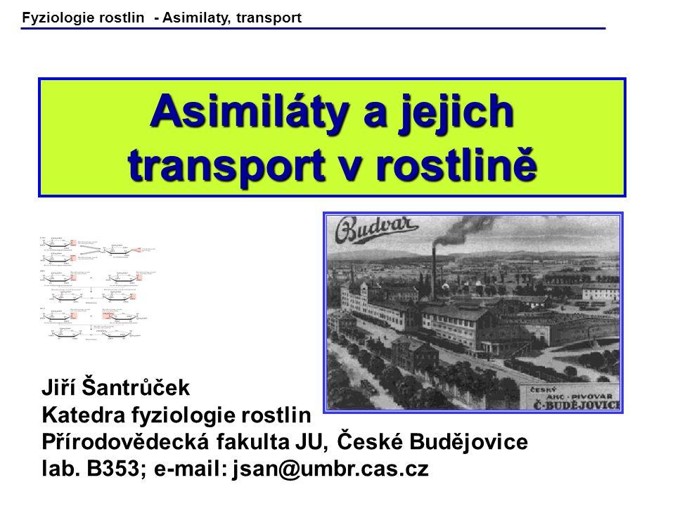 Fyziologie rostlin - Asimilaty, transport Asimiláty a jejich transport v rostlině Jiří Šantrůček Katedra fyziologie rostlin Přírodovědecká fakulta JU,
