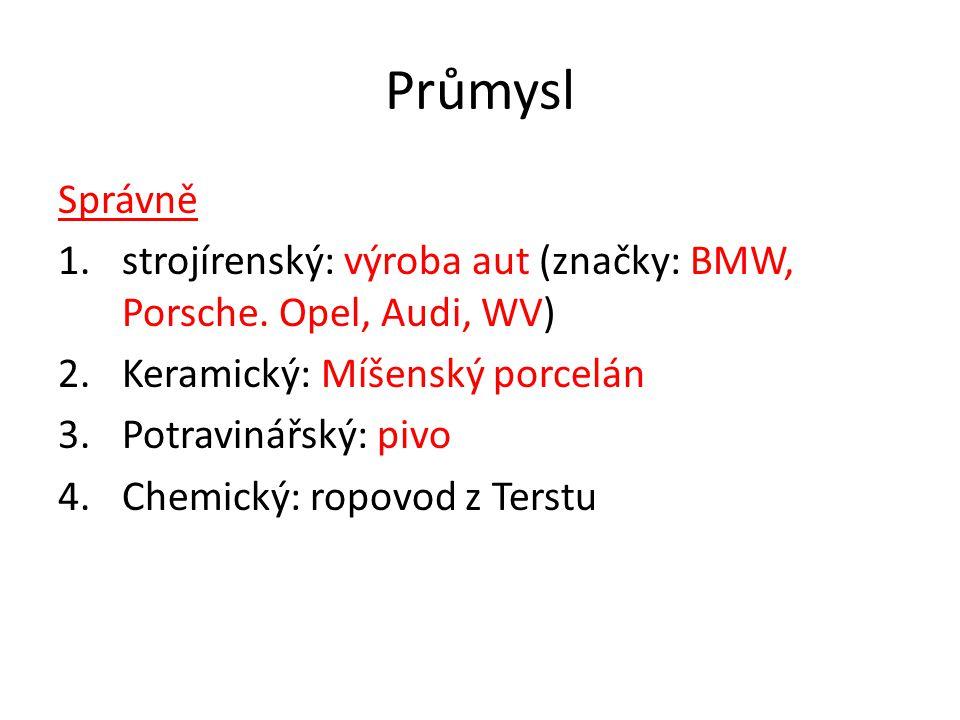 Průmysl Správně 1.strojírenský: výroba aut (značky: BMW, Porsche. Opel, Audi, WV) 2.Keramický: Míšenský porcelán 3.Potravinářský: pivo 4.Chemický: rop