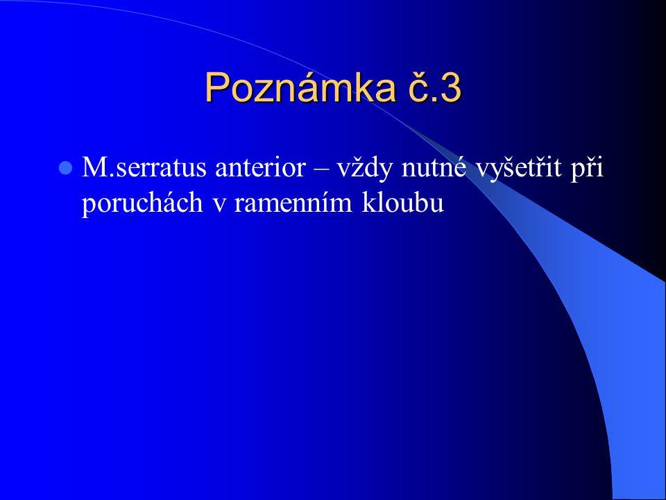 Poznámka č.3 M.serratus anterior – vždy nutné vyšetřit při poruchách v ramenním kloubu