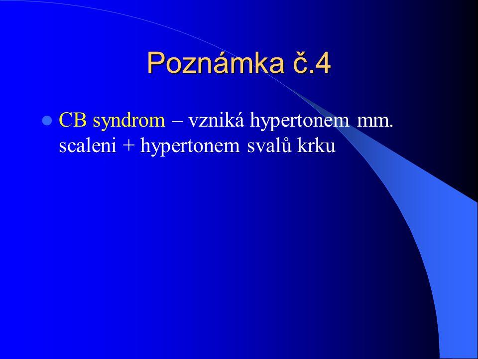 Poznámka č.4 CB syndrom – vzniká hypertonem mm. scaleni + hypertonem svalů krku