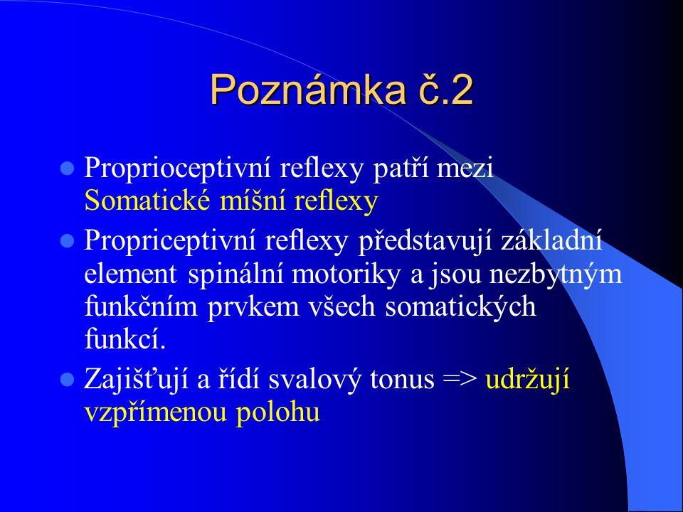 Poznámka č.2 Proprioceptivní reflexy patří mezi Somatické míšní reflexy Propriceptivní reflexy představují základní element spinální motoriky a jsou n