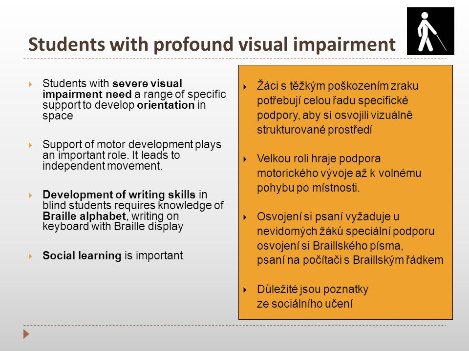 Students with profound visual impairment  Students with severe visual impairment need a range of specific support to develop orientation in space  Support of motor development plays an important role.