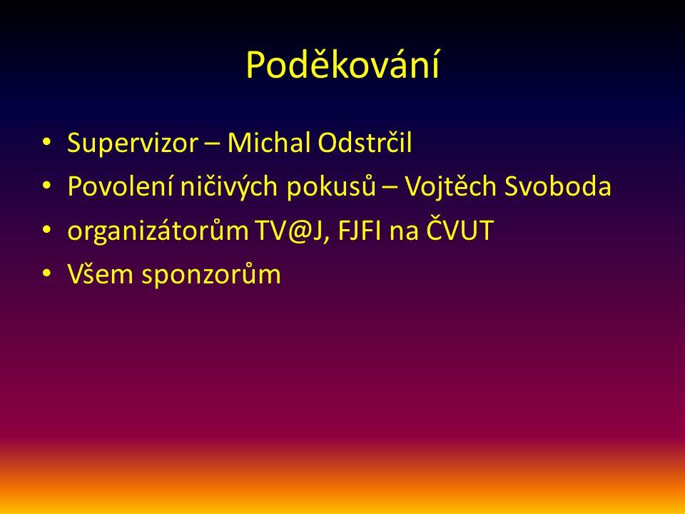 Poděkování Supervizor – Michal Odstrčil Povolení ničivých pokusů – Vojtěch Svoboda organizátorům TV@J, FJFI na ČVUT Všem sponzorům