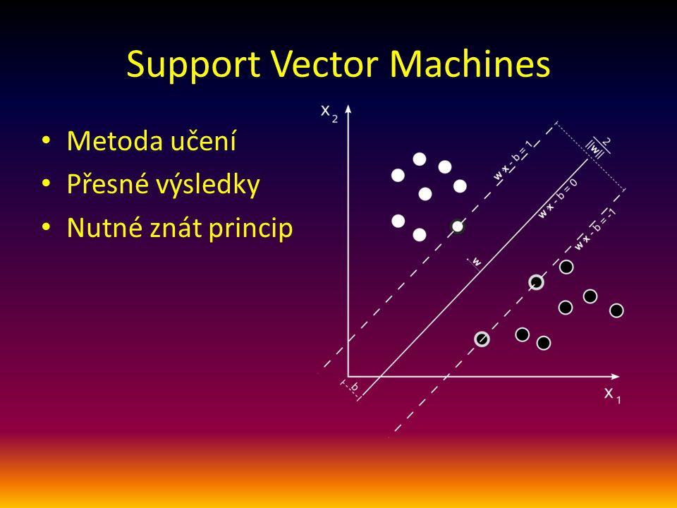 Support Vector Machines Metoda učení Přesné výsledky Nutné znát princip