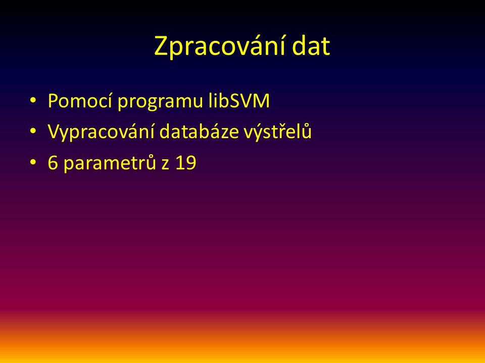 Zpracování dat Pomocí programu libSVM Vypracování databáze výstřelů 6 parametrů z 19