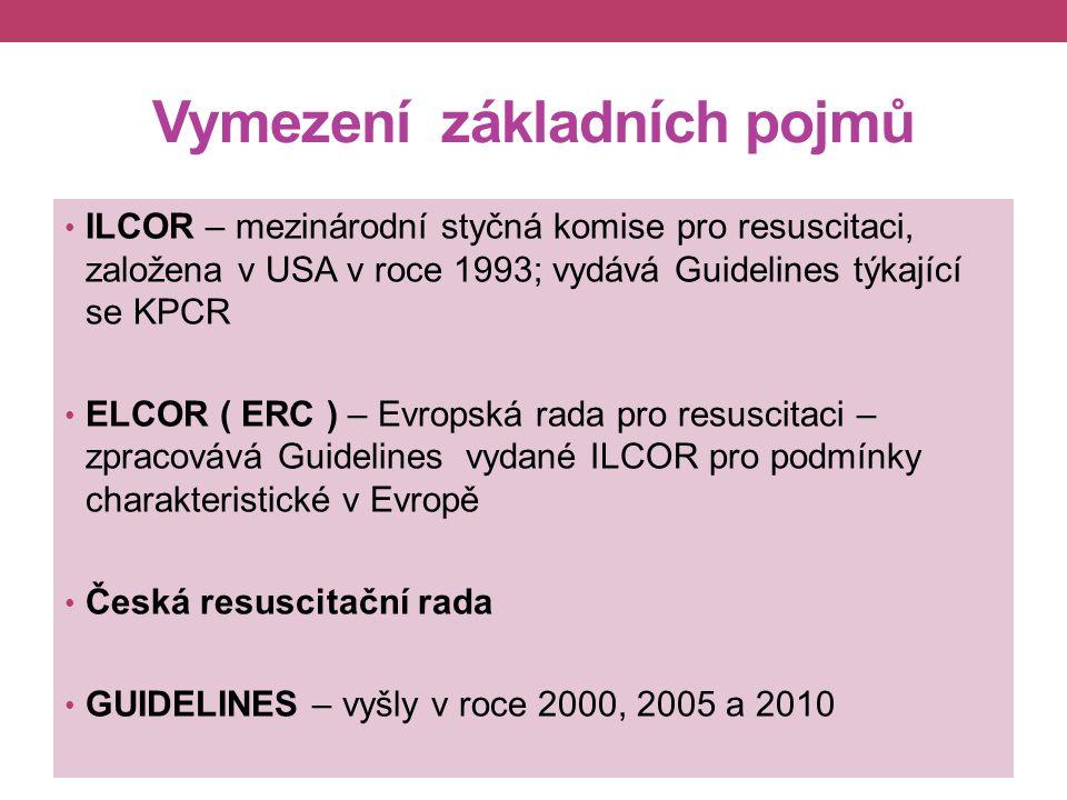 Vymezení základních pojmů ILCOR – mezinárodní styčná komise pro resuscitaci, založena v USA v roce 1993; vydává Guidelines týkající se KPCR ELCOR ( ERC ) – Evropská rada pro resuscitaci – zpracovává Guidelines vydané ILCOR pro podmínky charakteristické v Evropě Česká resuscitační rada GUIDELINES – vyšly v roce 2000, 2005 a 2010