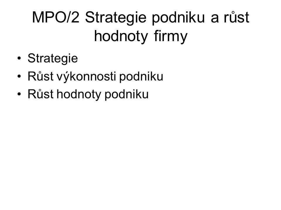 MPO/2 Strategie podniku a růst hodnoty firmy Strategie Růst výkonnosti podniku Růst hodnoty podniku