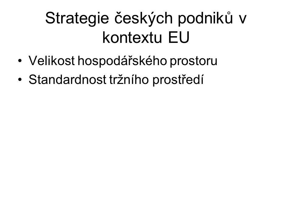 Strategie českých podniků v kontextu EU Velikost hospodářského prostoru Standardnost tržního prostředí