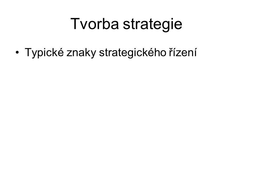 Tvorba strategie Typické znaky strategického řízení