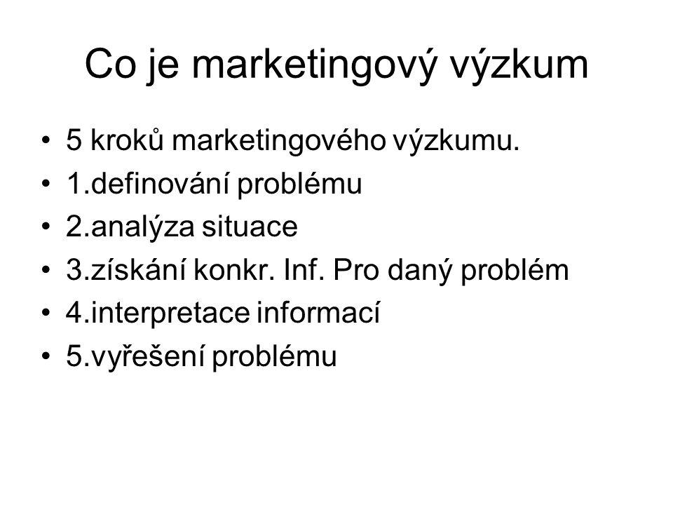 Co je marketingový výzkum 5 kroků marketingového výzkumu. 1.definování problému 2.analýza situace 3.získání konkr. Inf. Pro daný problém 4.interpretac