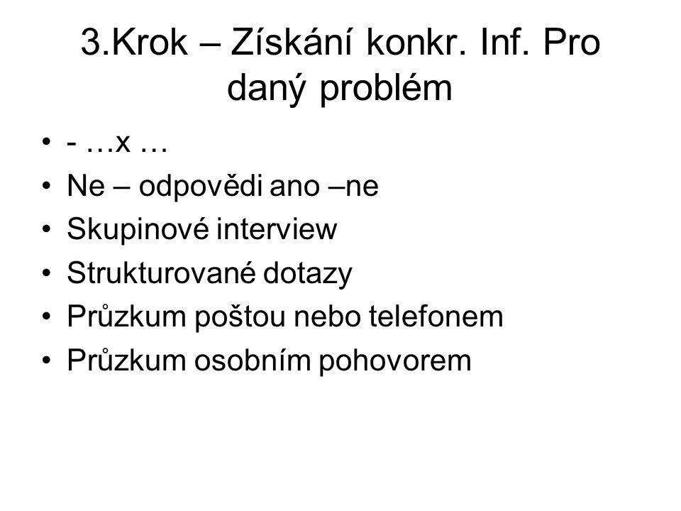3.Krok – Získání konkr. Inf. Pro daný problém - …x … Ne – odpovědi ano –ne Skupinové interview Strukturované dotazy Průzkum poštou nebo telefonem Průz