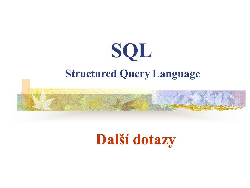 Další dotazy SQL Structured Query Language