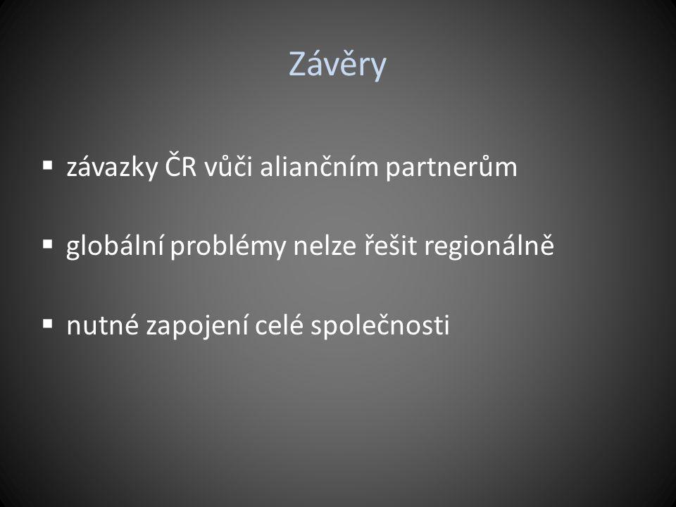 Závěry  závazky ČR vůči aliančním partnerům  globální problémy nelze řešit regionálně  nutné zapojení celé společnosti