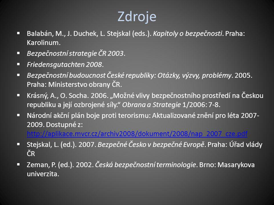 Zdroje  Balabán, M., J. Duchek, L. Stejskal (eds.). Kapitoly o bezpečnosti. Praha: Karolinum.  Bezpečnostní strategie ČR 2003.  Friedensgutachten 2