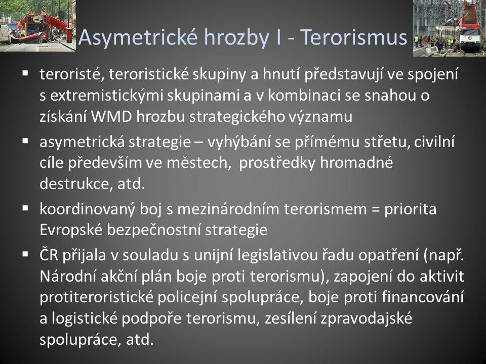 Asymetrické hrozby I - Terorismus  teroristé, teroristické skupiny a hnutí představují ve spojení s extremistickými skupinami a v kombinaci se snahou