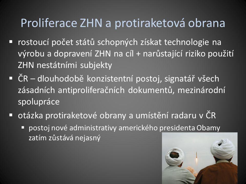 Proliferace ZHN a protiraketová obrana  rostoucí počet států schopných získat technologie na výrobu a dopravení ZHN na cíl + narůstající riziko použi