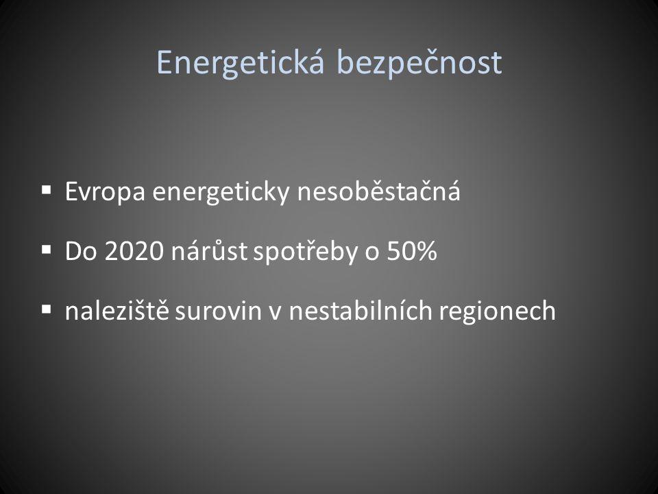 Energetická bezpečnost  Evropa energeticky nesoběstačná  Do 2020 nárůst spotřeby o 50%  naleziště surovin v nestabilních regionech