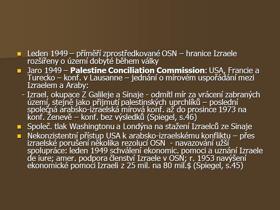 Leden 1949 – příměří zprostředkované OSN – hranice Izraele rozšířeny o území dobyté během války Leden 1949 – příměří zprostředkované OSN – hranice Izr
