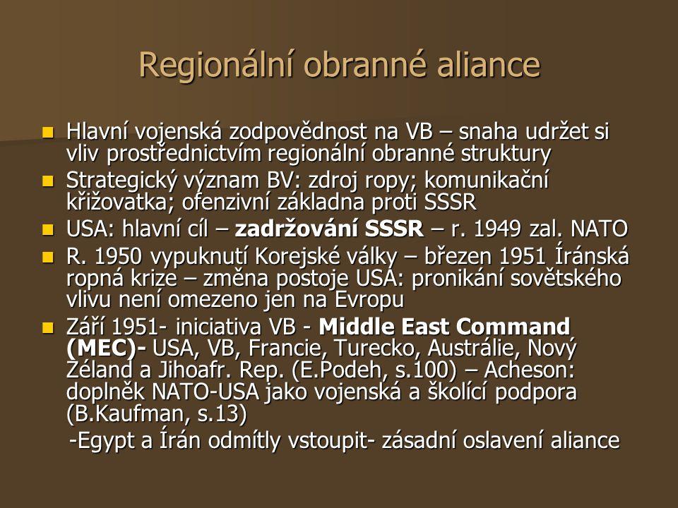 Regionální obranné aliance Hlavní vojenská zodpovědnost na VB – snaha udržet si vliv prostřednictvím regionální obranné struktury Hlavní vojenská zodp