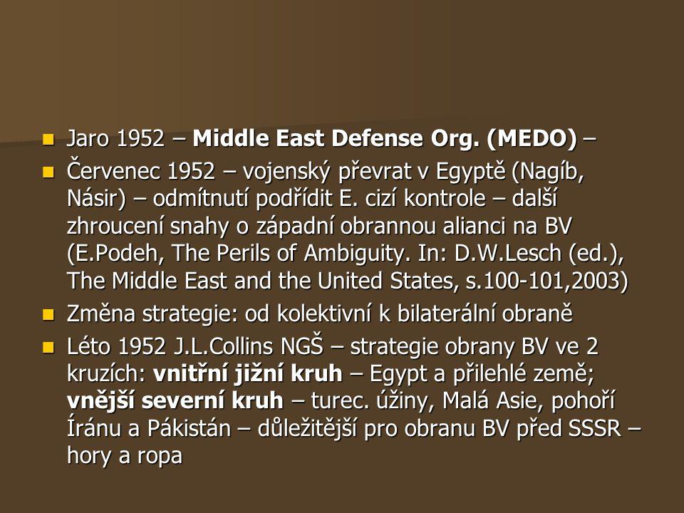 Jaro 1952 – Middle East Defense Org. (MEDO) – Jaro 1952 – Middle East Defense Org. (MEDO) – Červenec 1952 – vojenský převrat v Egyptě (Nagíb, Násir) –