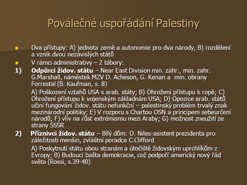 Poválečné uspořádání Palestiny Dva přístupy: A) jednota země a autonomie pro dva národy, B) rozdělení a vznik dvou nezávislých států Dva přístupy: A)