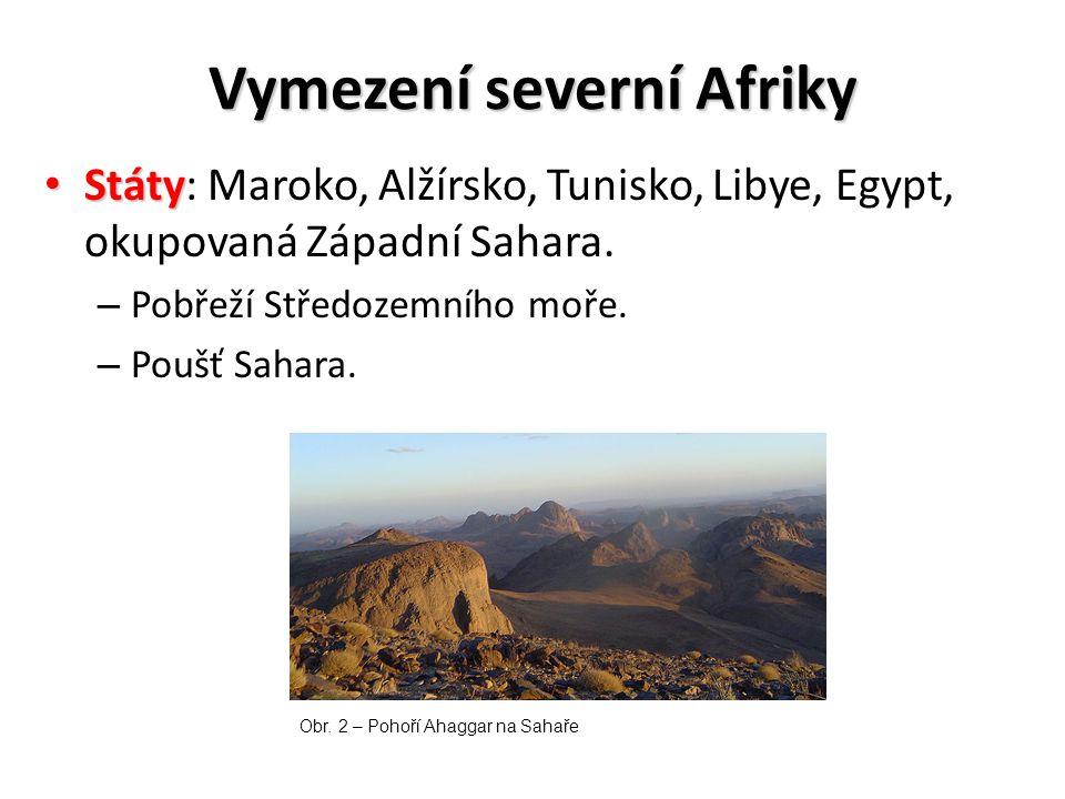 Vymezení severní Afriky Státy Státy: Maroko, Alžírsko, Tunisko, Libye, Egypt, okupovaná Západní Sahara. – Pobřeží Středozemního moře. – Poušť Sahara.
