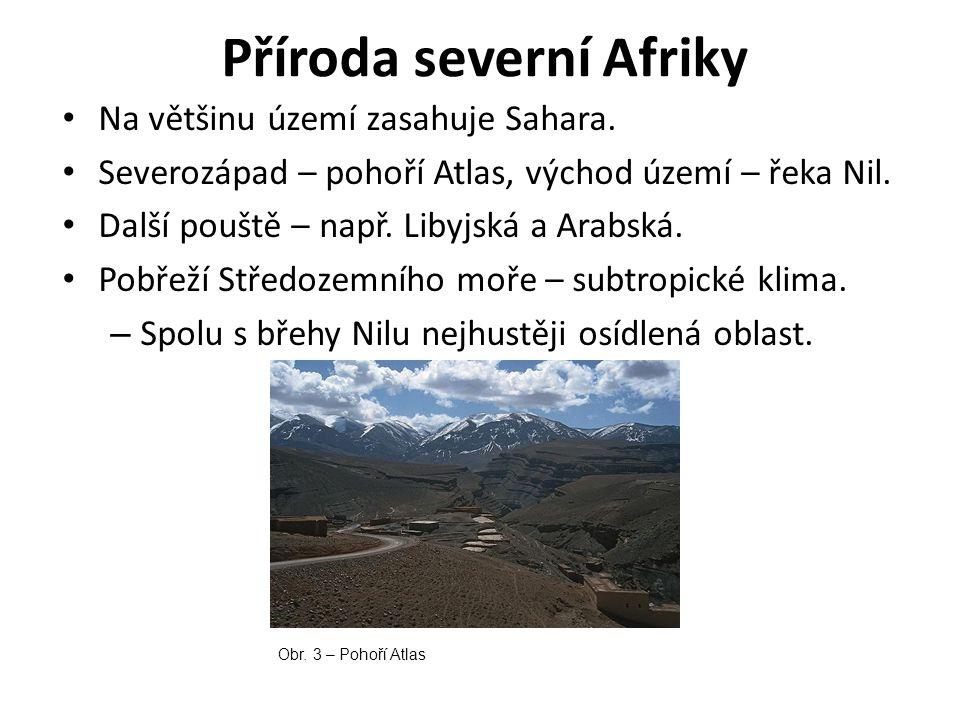 Příroda severní Afriky Na většinu území zasahuje Sahara. Severozápad – pohoří Atlas, východ území – řeka Nil. Další pouště – např. Libyjská a Arabská.