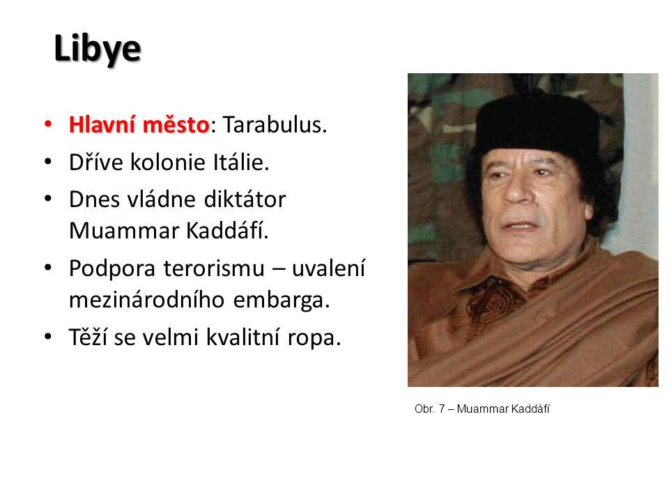Libye Hlavní město Hlavní město: Tarabulus. Dříve kolonie Itálie. Dnes vládne diktátor Muammar Kaddáfí. Podpora terorismu – uvalení mezinárodního emba