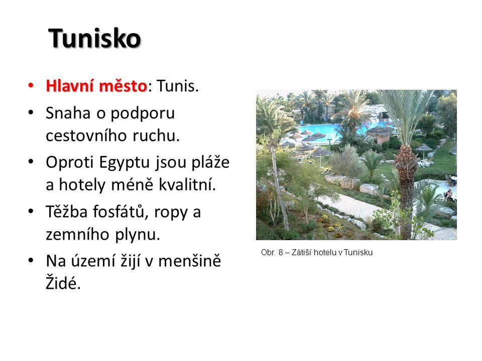 Tunisko Hlavní město Hlavní město: Tunis. Snaha o podporu cestovního ruchu. Oproti Egyptu jsou pláže a hotely méně kvalitní. Těžba fosfátů, ropy a zem