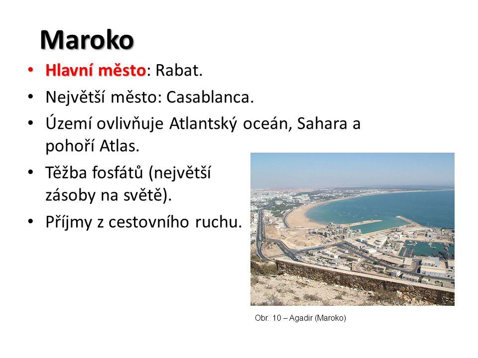 Maroko Hlavní město Hlavní město: Rabat. Největší město: Casablanca. Území ovlivňuje Atlantský oceán, Sahara a pohoří Atlas. Těžba fosfátů (největší z