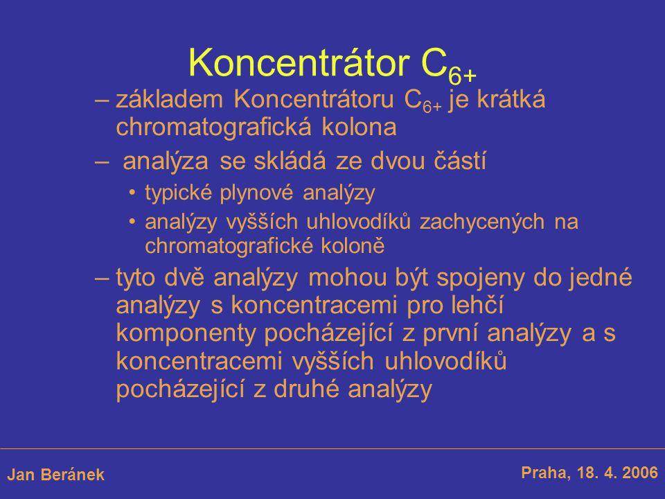Koncentrátor C 6+ –základem Koncentrátoru C 6+ je krátká chromatografická kolona – analýza se skládá ze dvou částí typické plynové analýzy analýzy vyšších uhlovodíků zachycených na chromatografické koloně Praha, 18.
