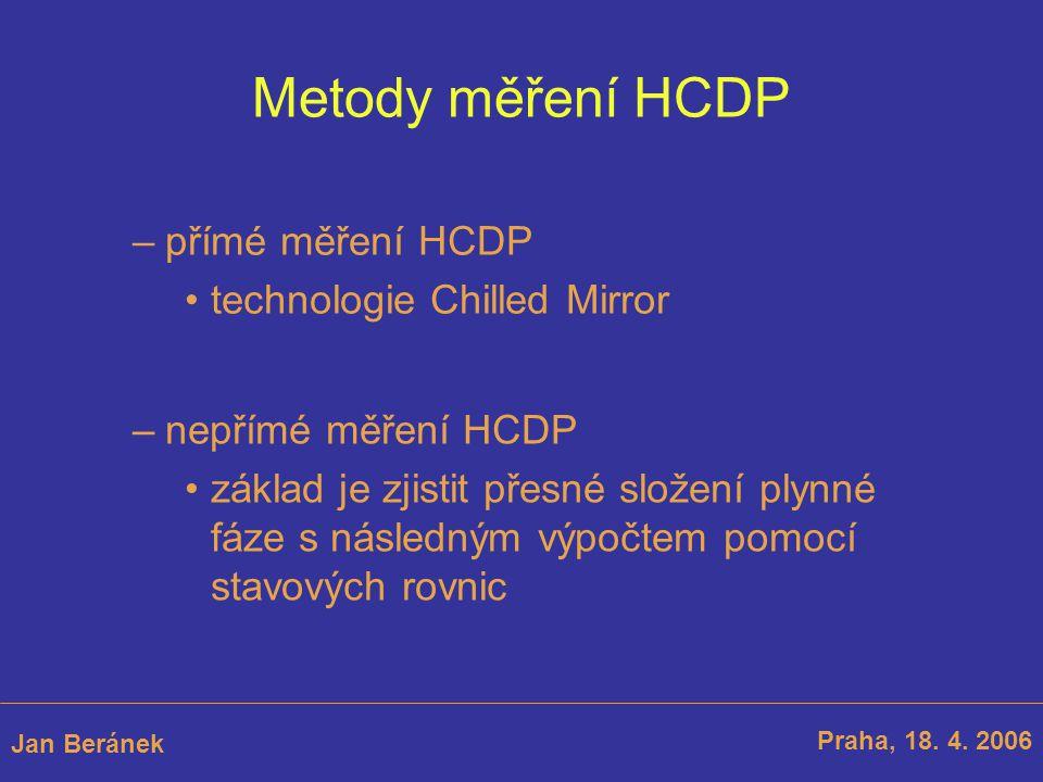 Metody měření HCDP –přímé měření HCDP technologie Chilled Mirror Praha, 18. 4. 2006 Jan Beránek –nepřímé měření HCDP základ je zjistit přesné složení