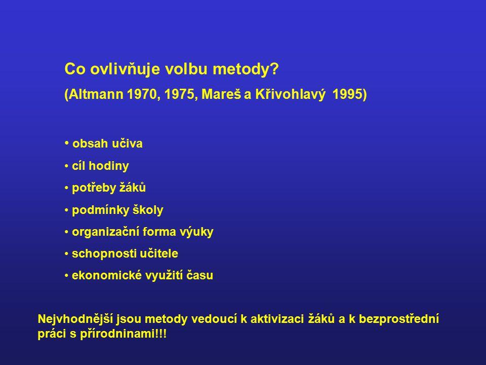 Vyučovací metody (z hlediska způsobu zprostředkování nových poznatků) výklad (přednáška), vypravování, popis, vysvětlování rozhovor, beseda práce s literaturou pozorování pokus didaktická hra (Altmann 1975, Dvořák 1982)