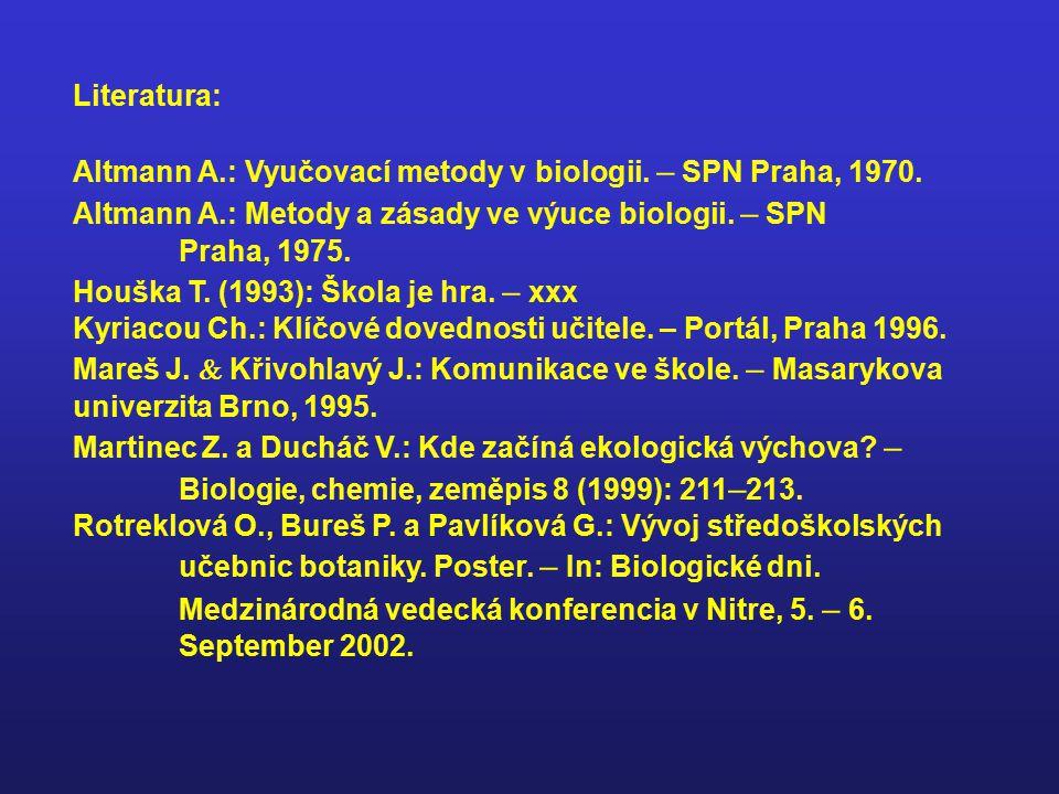 Literatura: Altmann A.: Vyučovací metody v biologii. – SPN Praha, 1970. Altmann A.: Metody a zásady ve výuce biologii. – SPN Praha, 1975. Houška T. (1