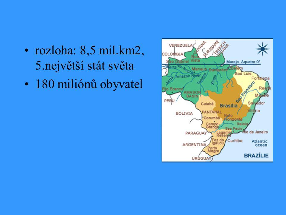 rozloha: 8,5 mil.km2, 5.největší stát světa 180 miliónů obyvatel