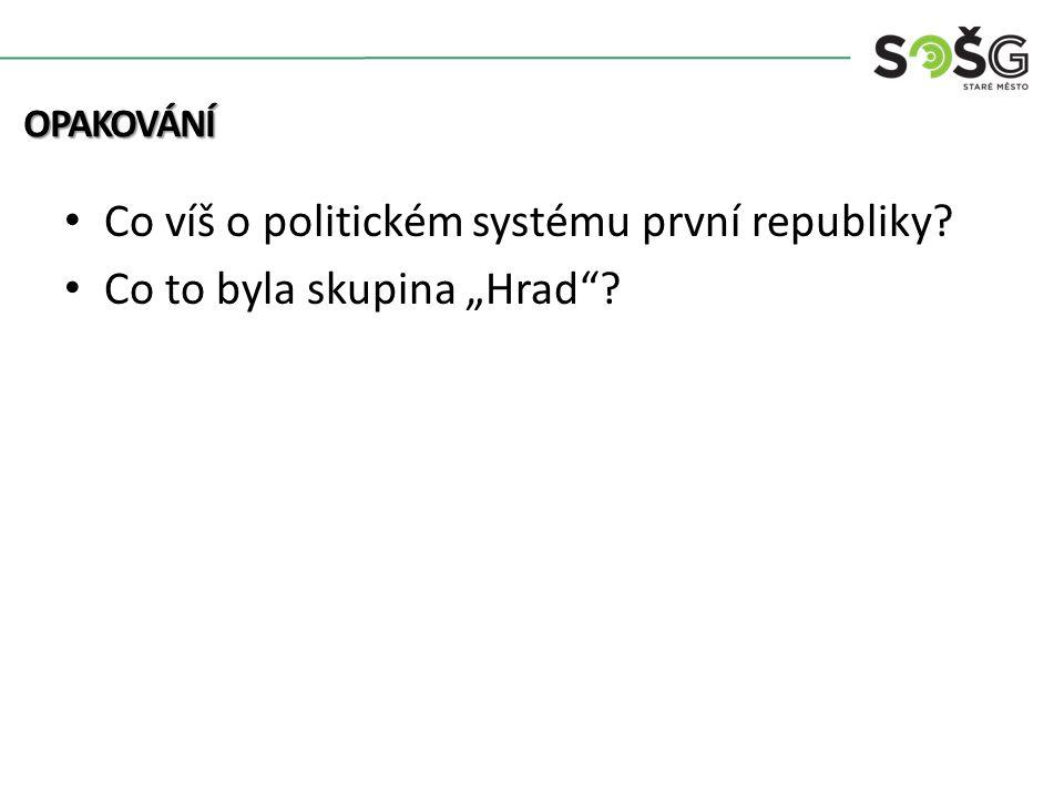 """Co víš o politickém systému první republiky Co to byla skupina """"Hrad OPAKOVÁNÍ"""