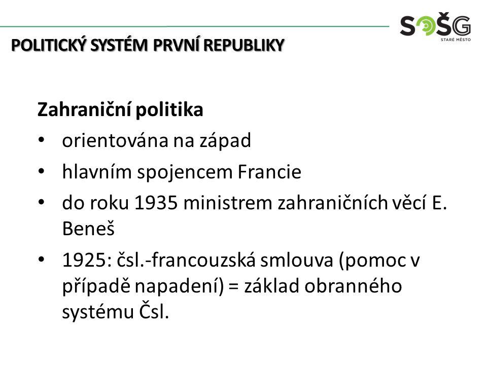 Zahraniční politika 1920: smlouva s Německem 1922: čsl.-sovětská hospodářská smlouva úzká spolupráce s Jugoslávií a Rumunskem (Malá Dohoda; 1920-1928) POLITICKÝ SYSTÉM PRVNÍ REPUBLIKY