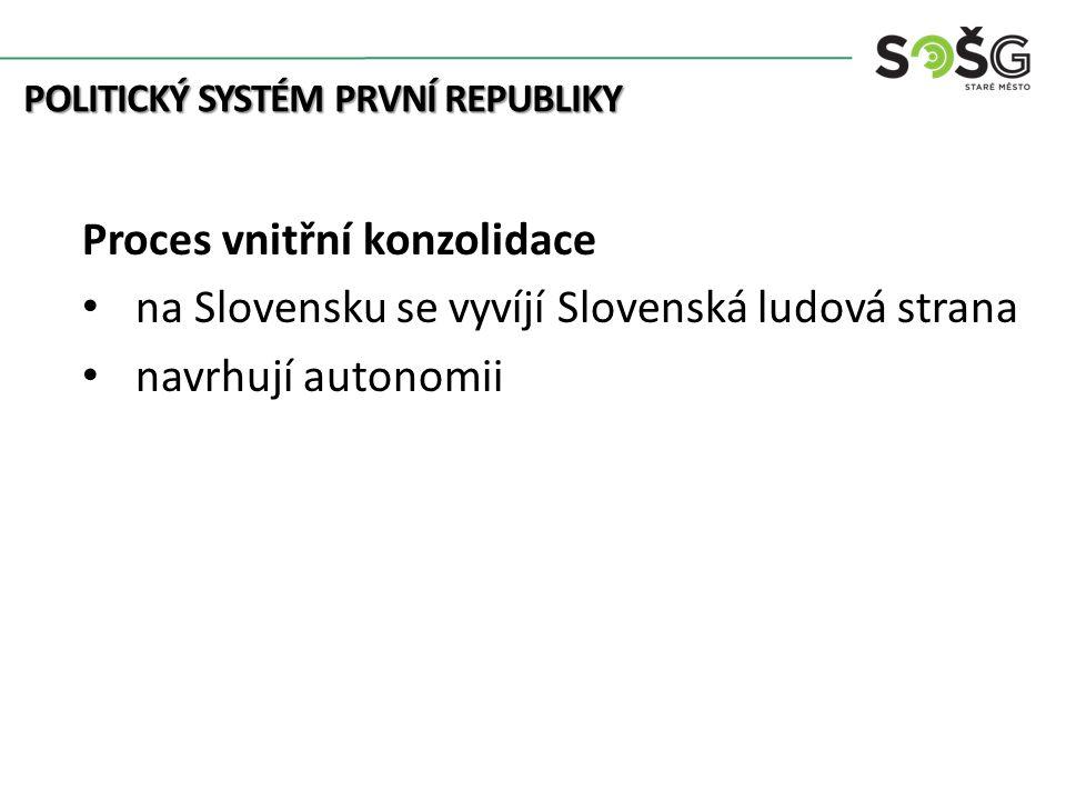 Proces vnitřní konzolidace na Slovensku se vyvíjí Slovenská ludová strana navrhují autonomii POLITICKÝ SYSTÉM PRVNÍ REPUBLIKY