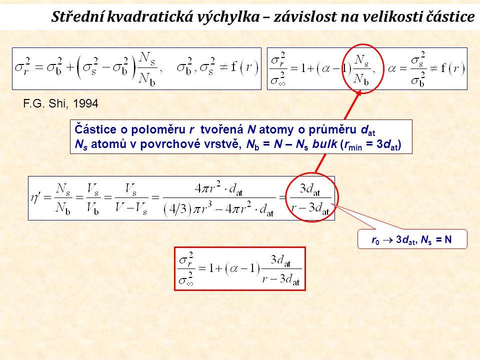 r 0  3d at, N s = N Střední kvadratická výchylka – závislost na velikosti částice Částice o poloměru r tvořená N atomy o průměru d at N s atomů v povrchové vrstvě, N b = N – N s bulk (r min = 3d at ) F.G.