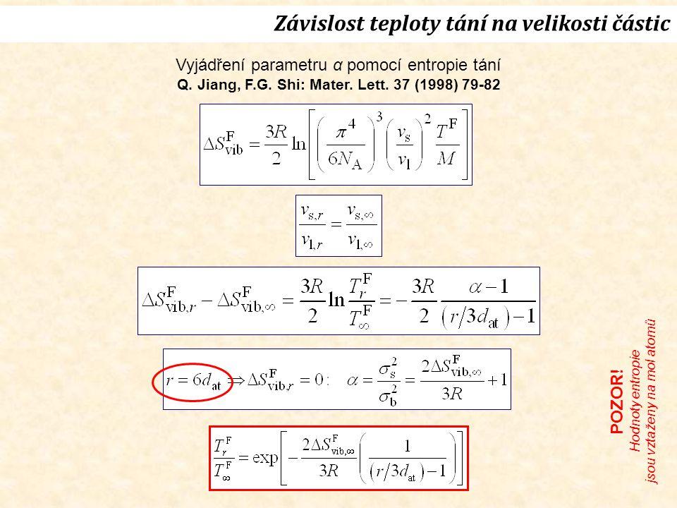 Vyjádření parametru α pomocí entropie tání Q. Jiang, F.G.