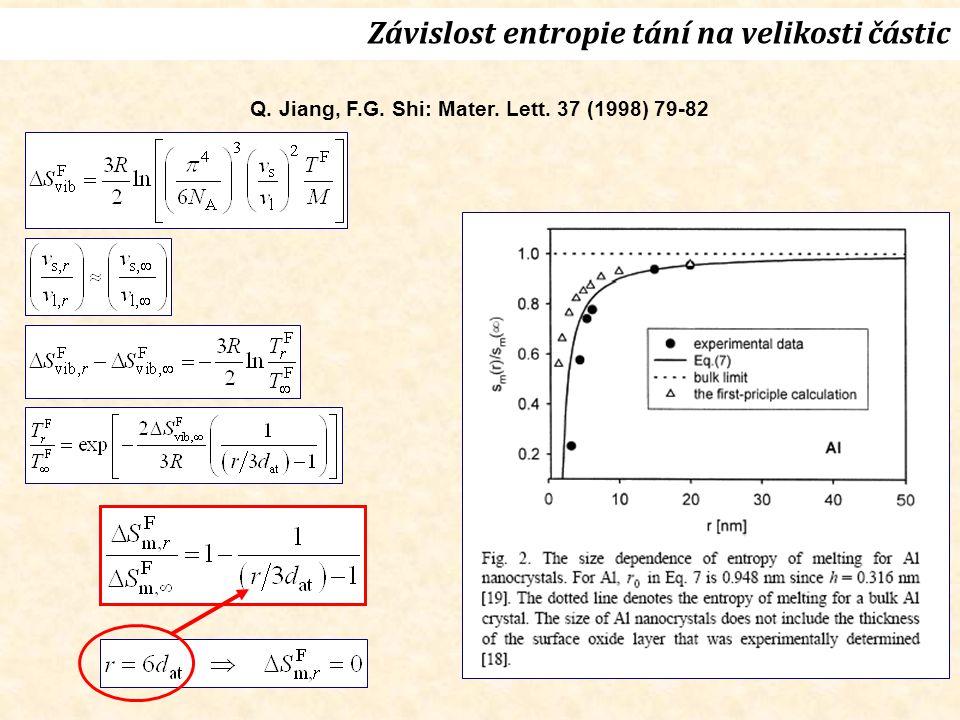 Q. Jiang, F.G. Shi: Mater. Lett. 37 (1998) 79-82 Závislost entropie tání na velikosti částic