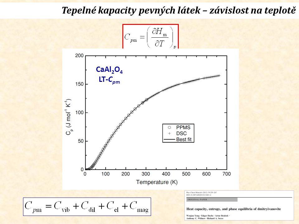 Tepelné kapacity pevných látek – závislost na teplotě CaAl 2 O 4 LT-C pm